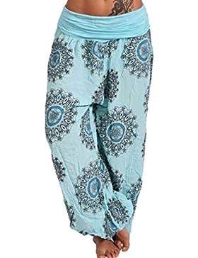 Juqilu Mujer Pantalones Harén - Aladín Floral Cintura Elástico Pantalón Moda Casual Slim Pantalones para Deportes...
