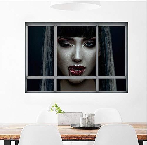Hwhz Happy Halloween Wandaufkleber 3D Halloween Stil Muster Gefälschte Fenster Malerei Home Wohnzimmer Schlafzimmer Dekorative WandaufkleberC