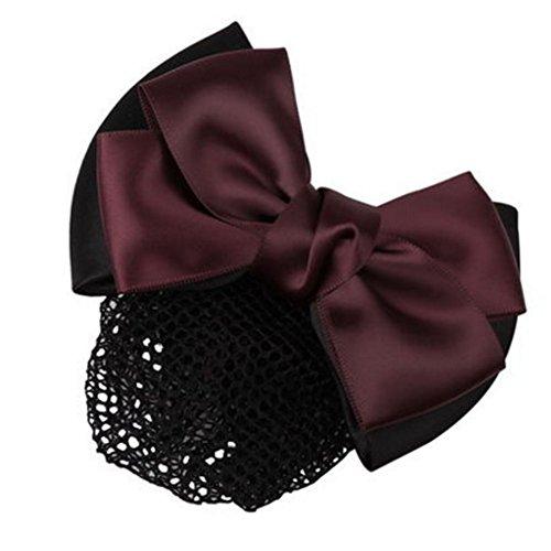 3pcs Bow Tie barette cheveux clip Snood Net coiffure pour les femmes, O