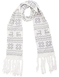 Womens Winter Scarf Christmas Scarf Soft Knitted Scarf With Fair Isle, Reindeer & Snowflake Design in 4 Colours