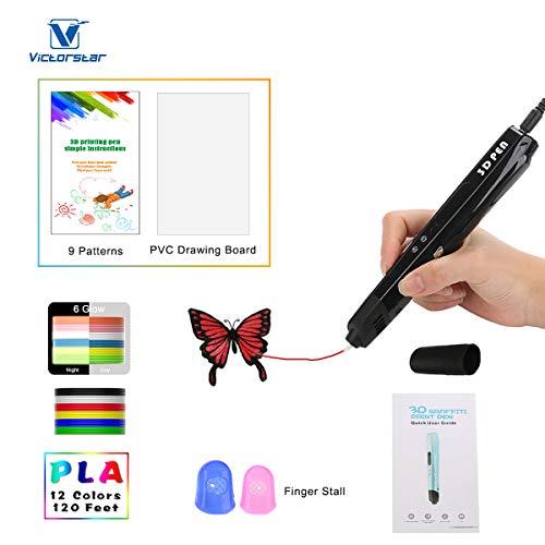 3D Stift mit LED-Anzeige größer, Motor Militär, gloss UV Beschichtung, 9 Papierschablonen, 12 PLA, 2 Ärmel der Fingern, Silikonkappe / Kompatibel mit Glühfaden PLA und ABS VICTORSTAR VT-B660 / Safer, gesünderer, Bequem (Schwarz)