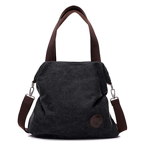 Canvas Damen Handtasche Schultertasche Frauen Casual Umhängetaschen Tote Hobo Bag Groß für Arbeit Schule Shopper Ausflug Schwarz -