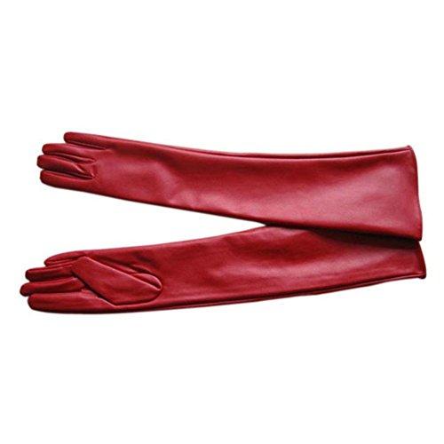 MORESAVE Damen Winter Warm Leder Lange Handschuhe gefütterte Opernhandschuhe, Rot (Gefütterte Leder-kleid-handschuhe)