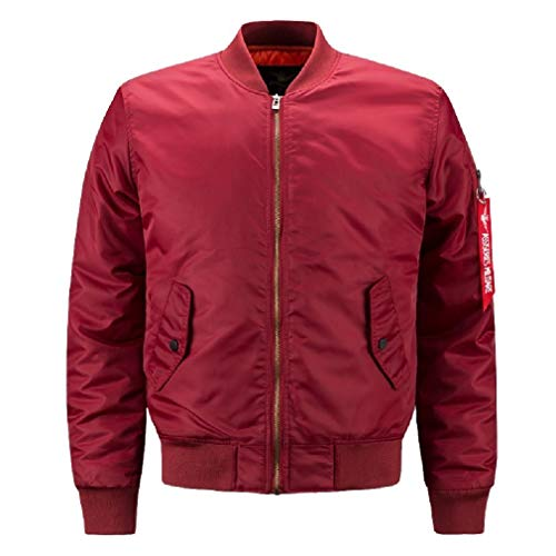 Andode Mens Stand Collar Zip Baseball Sport Solid Big and Tall Coat Jacket Red 3XL (And Tall Coats Big)
