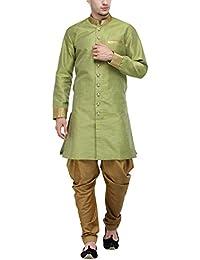 RG Designers Parrot Green And Gold Plain Sherwani For Men