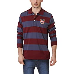 American Crew Men's Polo Collar Stripes With Badge T-Shirt (Navy Blue & Maroon) (XXX-Large)