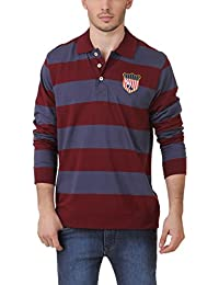 [Sponsored]American Crew Men's Polo Collar Stripes With Badge T-Shirt (Navy Blue & Maroon)