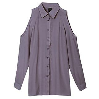 Ai.Moichien Crop Cold Shoulder Long Sleeve Button Down Chiffon Tops Blouses Dress Shirt