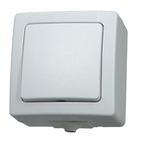 Kopp Nautic Universalschalter (Aus- und Wechselschalter), Aufputz, Lichtschalter für Feuchtraum, 250V (10A), IP44, Basiselement mit Komplettgehäuse, herausnehmbarer Sockel, arktis-weiß, 565602002 -