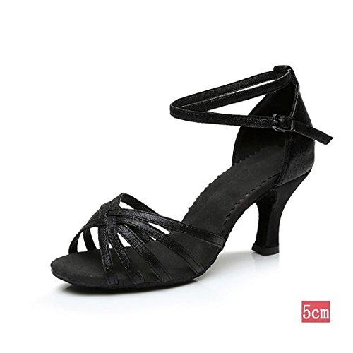 Wxmddn Latino femmina scarpe da ballo nero opaco scarpe da ballo 5cm soft suole di scarpe da ballo satin indoor scarpe da ballo quattro stagioni Nero opaco 5cm