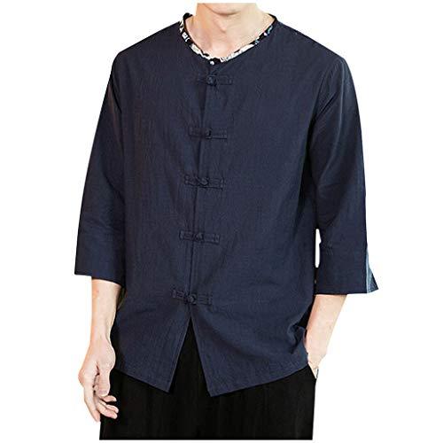 TEFIIR Herren Vintage lässig reine Farbe Baumwolle Leinen drei Viertel Ärmel Shirts Tops (M, Marine) White Pedal Bin