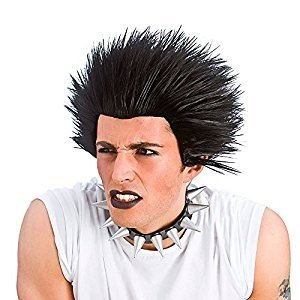 Mens Black Spiky Punk Wig