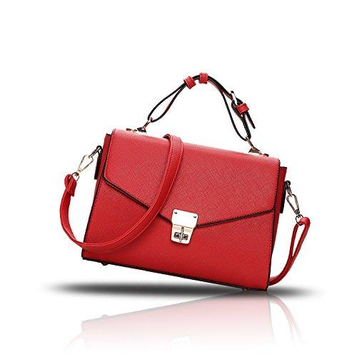 Tisdaini Handtaschen Handtaschen einfache Farbe einzigen Schulter kleinen quadratischen Tasche Schloss Messenger Bag Mode Damen Handtasche rot