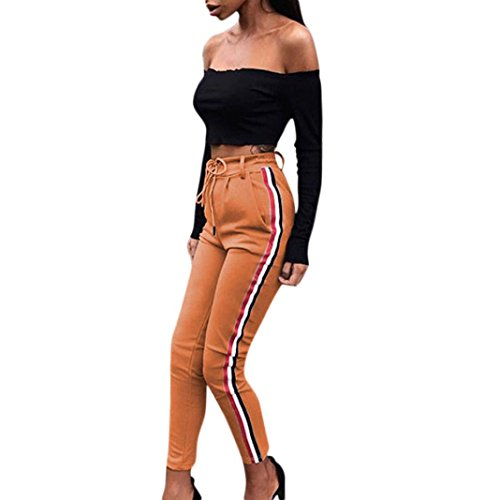 Frashing Yoga Hosen, Frauen Yoga Pants Farbverlauf Trainings Leggings Stretch Hose Casual gestreifte Hosen elastische hohe Taille beschnitten Länge OL Hose (L, khaki) (Gestreifte Herren-khaki)