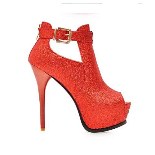 W&LM Signorina Tacchi alti sandali Ruvido Ultra Tacchi alti Bocca di pesce sandali Piattaforma impermeabile paillettes Chiusura lampo dopo Alto aiuto sandali Red