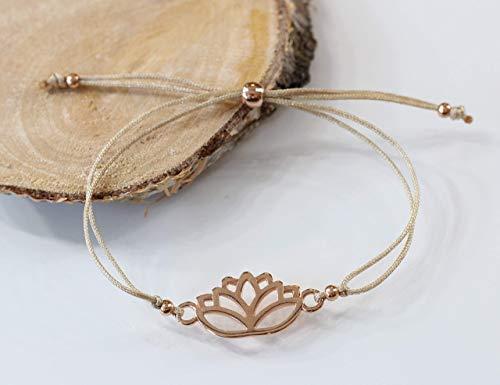 Armband Lotusblüte rosegold farben Macramearmband Damen Freundschaftsarmband Makrameeverschluß Makramee rotgoldfarben Lotus Bracelet Armband Band in vielen verschiedenen Farben erhältlich