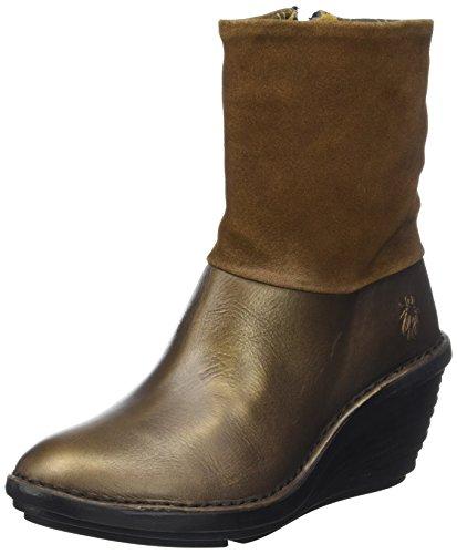 FLY London Damen Sina671fly Stiefel, Braun (Olive/Camel), 38 EU Soft-toe Side Zip