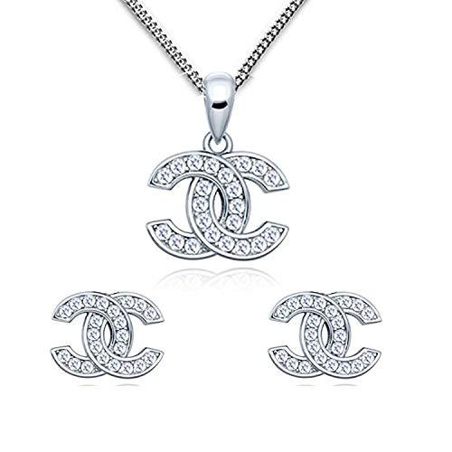 findout Damen Sterlingsilber blau Weiß Kubische Zirconia Schneeflocke Anhänger Goldfisch Halskette für Frauen Mädchen (f1738) (Silver Set)