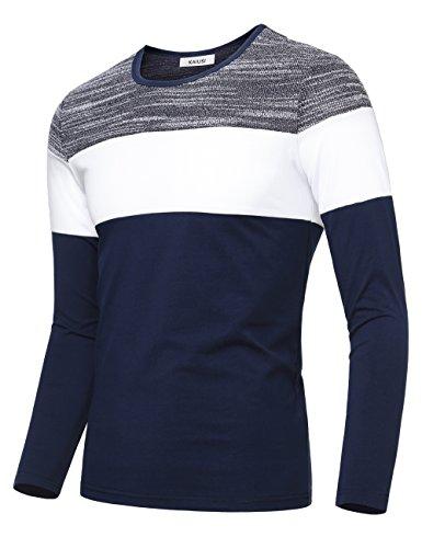 KAIUSI Herren Basic Rundhals Streifen Pullover Langarmshirt Blau-Weiss-2 X-Large (Streifen Blau Shirt Weiß)