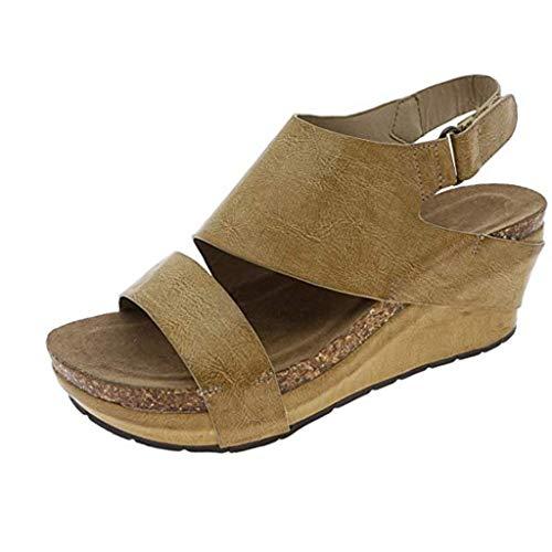 Alaso Chaussures Femme Sandali compensati da donna con plateau e punta aperta, stile bohémien, con zeppa, tacco 5 cm, sandali da città, nero, marrone, grigio, 35-43 EU giallo 43