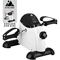 Mini Exercise Bike, Under Desk Leg Pedal Exerciser with Handle, Adjustable Resistance with LCD Display for Sitting Down, Unisex and Elderly -White