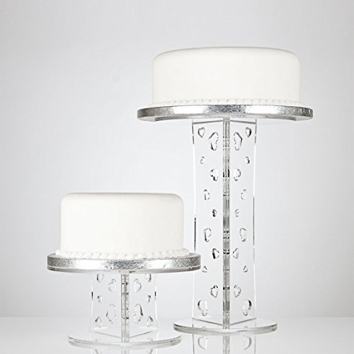 Olivia Clear Acrylic Party & Wedding Cake Stand With Heart Design Column - 100mm, 200mm, 300mm, 400mm & 500mm - 300mm high by Crystal Clear Cake Stands