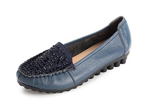 Scarpe Donna Scarpe Slip On Loafer Scarpe Casual Scarpe Scarpe Diamante Piatto treasures blue