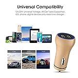 BigBig Style Dual-USB-Auto-Ladegerät 5V / 2.4A Leichte Aluminium-LED-Felgen-Adapter-Mini-Ladegerät für iPhone iPad Samsung GalaxyHTC One, LG, Nexus, iPhone und mehr (Color : Gold)