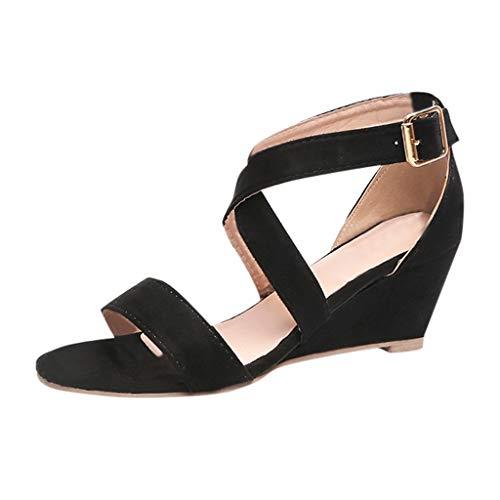 SHE.White Frauen Schuhe Mode Leopard Einfarbig Keil Schnalle RöMischen Sandalen Sommer Elegant Frauen Sandalen Kreuz Gebunden Sommerschuhe