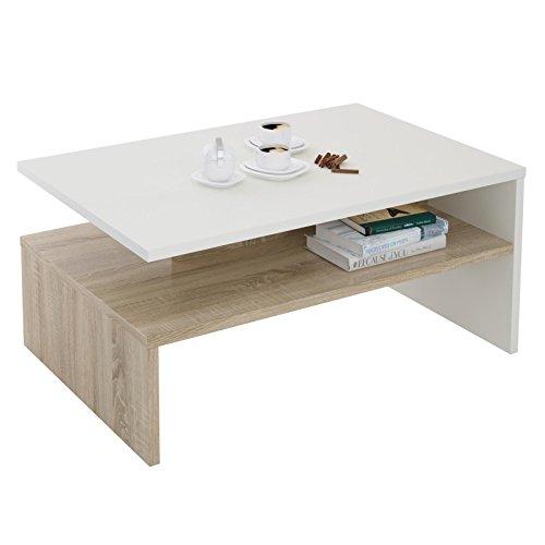Wohnzimmer-moderne Sofa-tisch (CARO-Möbel Couchtisch Beistelltisch Wohnzimmertisch Paulina 90 x 60 cm in weiß/Sonoma Eiche mit Ablagefach)