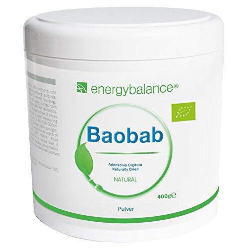 Baobab Pulver Bio | Bio Vitamin C, Bio Kalzium, Bio Magnesium, Bio Kalium | Hohe Bioverfügbarkeit| Premiumqualität | Bio Fruchtpulver | Antioxidantien | Glutenfrei | Laktosefrei | Ohne Zusatzstoffe | GVO-frei | 400g -