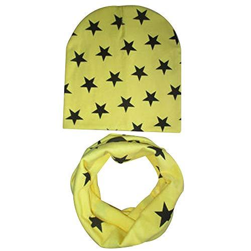 PinzhiBaby Winter Baumwollmütze Warme Winddichte Kuppel Plain Weave Stern Muster Schal Anzug Baby Mütze ()