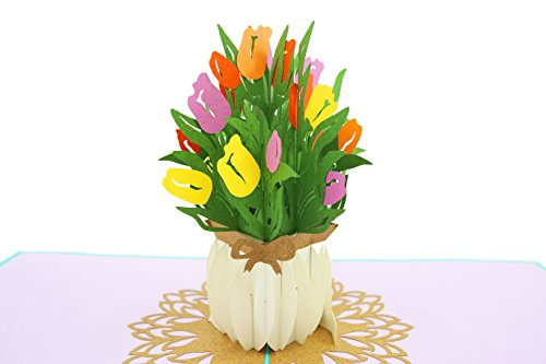 PopLife Cards Tulpe Blumen Blumenstrauß 3D Popup-Grußkarte für alle Gelegenheiten Muttertag Karte, Frühling Garten, Jahrestag Karte Falten flach für Mailing Sympathie, alles Gute zum Geburtstag, Get -