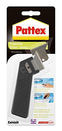 Pattex Fugenhai mit Ersatzklinge / Praktischer und handlicher Silikon Fugenentferner für den Sanitärbereich / 1er Pack mit Ersatzklinge