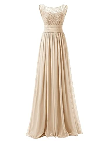 HUINI Spitze-Chiffon- lange Abend-Abschlussball -Kleid Plissee Brautjungfernkleid