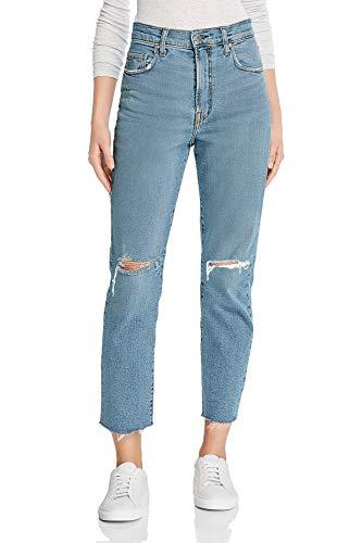 Monyray jeans donna vita alta strappati pantaloni dritti in denim mom jeans con fondo grezzo e strappi alle ginocchia blu lavaggio s (vita 68cm / fianchi 92cm)