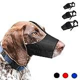 Museruola per Cani, 1 set di 3 PZ Regolabile in Nylon per Cani di Piccole Medie e Grandi Dimensioni per Prevenire Morsi, Abbaio e Rosicchio (S,Nero)