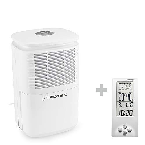 TROTEC Deshumidificador eléctrico TTK 30 E / 10L / Indicador LED/Desagüe 1,9 L/Portátil/Para Habitaciones de 15m² / 37m³ / Silencioso / 270 W/Auto-Apa