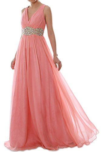 MACloth Women Straps V Neck Chiffon Long Prom Dress Wedding Formal Ball Gown Teal