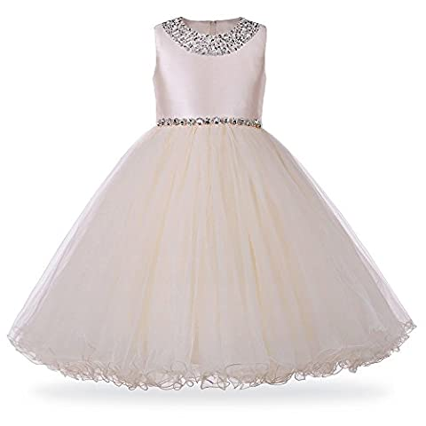 HUANQIUE Girls 2-8 Years Sleeveless Princess Wedding Dress Sequinned Party Birthday Christening Bridesmaid Dresses (7-8Y(Tag NO.12),