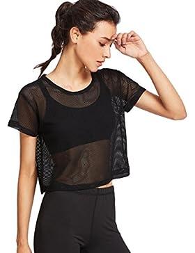 L Mujer Camisetas Deporte de Malla Fitness Negro, Camiseta de Manga Corta con Cuello Redondo Suelto Tops Corto...