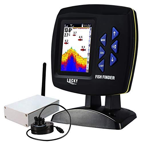 LUCKY Kabellos Fisch Finder 328ft (100m) Tiefe Angebot, 300m/ 984ft Betriebs Angebot Remote Steuerung Boot Fischfinder Farbig Monitor Tragbaren Sonar-fishfinder