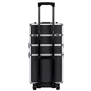 SONGMICS Mallette Maquillage Trolley 4-in-1 Aluminium boîte à Maquillage Beauty Case Professionnel Maquillage Coiffure Nail Cosmetic