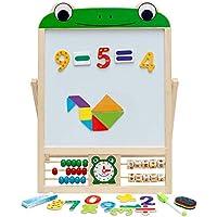Caballete Infantil Pizarra magnética Infantil 2 en 1 Tablero de Dibujo Plegable Doble Cara para niños con tizas, números, Esponja, Imanes, Marcador y Tangram (Rana)