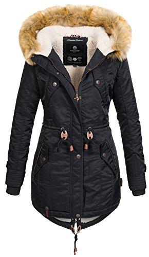 Navahoo warme Damen Winter Jacke Teddyfell Winterjacke Parka Mantel B399 [B399-Schwarz-Gr.S]