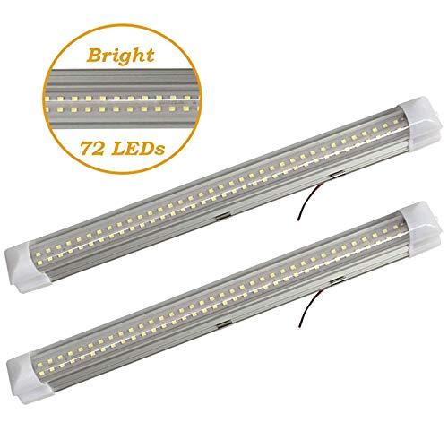 SODIAL 2 X 4,5W 72 LED Blanc Intérieur de Voiture Bande de Lumière Intérieure Cabine de Lampe Lumière de Camion Lampe de Chambre avec 2 Commutateur de Bande Autocollant