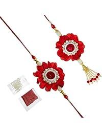 Tied Ribbons Traditional Bhaiyya Bhabhi Lumba Rakhi With Rakshabandhan Special Card And Roli Chawal