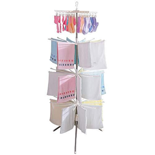 Bodentrocknung Airer, Baby Windel Kleiderbügel Kunststoff Dreiecksform Wäscheständer 360-Grad-Drehung Design mit Clip Regal Baby Room Balkon Special Rack (Kranz Kunststoff-lagerung)