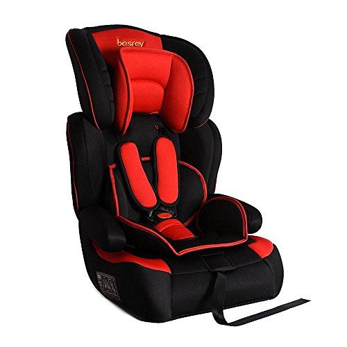 Besrey® Autokindersitz Autositz Baby Kinderautositz 9-36 kg Gruppe 1 2 3 Schwarz & Rot