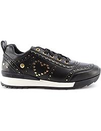 Love Moschino Scarpe Donna Sneakers Power 25 Vitello Nero Black Mirror Gold  Oro 4f79189d520